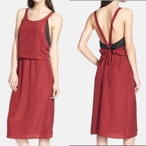 1.STATE | Romance At Dusk Deep Red Midi Dress  NWT
